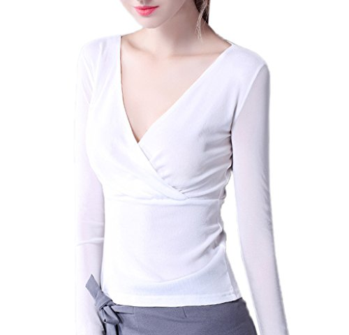 Smile YKK Top Col V Femme Tulle T-shirt Chemise Blouse Pull Manches Longues Amincissant Blanc