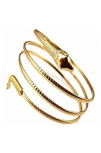 SODIAL(R) Fashion gewickelt Schlange spiralfoermig Oberarm Stulpe Armband Armreif silber (Armband Schlange)