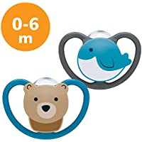 NUK Space Baby Dummy, 0-6 Months, Silicone, Bear and Whale, 2 Count