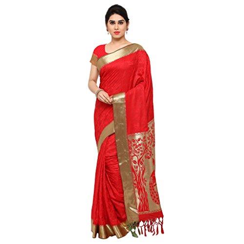 Varkala Silk Sarees Women\'s Art Silk Kanchiuram Saree With Blouse Piece(AWJP7102RDRD_Bright Red_Free Size)