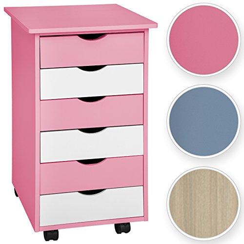 TecTake Rollcontainer mit 6 Schubladen -diverse Farben- (Pink | Nr. 400924)