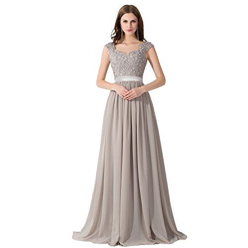 Damen Elegant Chiffon Herzform Abendkleid Ballkleid mit Spitze lang Silber 32