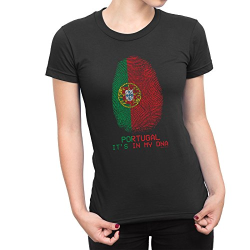 Buzz Shirts Damen T-Shirt Portugal 'It's in My DNA' Fingerprint Fingerabdruck-Fußball-Weltmeisterschaft 2018