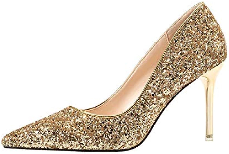 HLG Scarpe da donna con tacco alto, paillettes, scarpe da sposa stiletto, scarpe da damigella d'onore, scarpe... | Specifica completa  | Scolaro/Signora Scarpa
