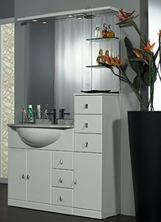 Mobile arredo bagno cleo cm 100+30 con lavabo sottopiano bianco lucido con specchio mobili 1