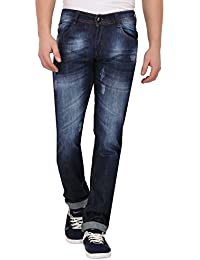JUGEND Dark Blue Whiskered Light Distressed Non-Stretchable Relaxed fit Jeans for Men