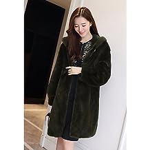 XUANKU salir a la calle de la mujer Chic sofisticado invierno abrigo de piel, sólido con capucha manga larga largo pelo sintético pelo de mapache, Army Green, talla única