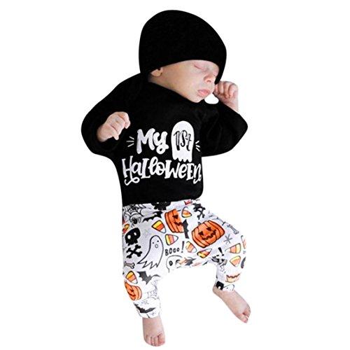 happy event Halloween Kleinkind Baby Jungen Mädchen Baumwolle Kürbis Geist Kostüm Outfits Kleidung   Toddler Infant Baby Boy Girls Pumpkin Print Bowknot Halloween Rompers Outfits Clothes (3Pcs) ()
