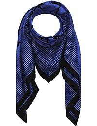 Lorenzo Cana Italian Scarf Pashmina Silk Cotton Shawl 43'' x 43'' Paisley Houndstooth Black Dark Blue 8911911