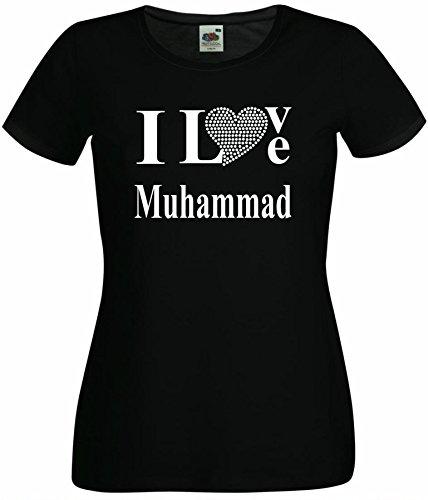 T-Shirt I Love Muhammad mit einer Strassaplikation / Strassherz Schwarz