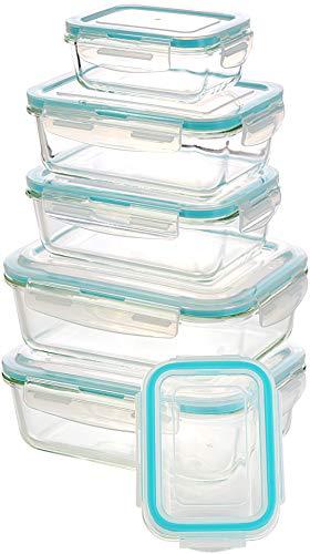 Kichly set di contenitori per alimenti in vetro - 12 pezzi (6 contenitori + 6 coperchi) coperchi trasparenti - senza bpa - per cucina domestica o ristorante