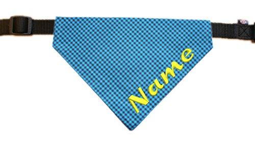 Halstuch mit Name bestickt für Hunde - Farbe grau-blau kariert - inkl. Halsband - Größe XS - S