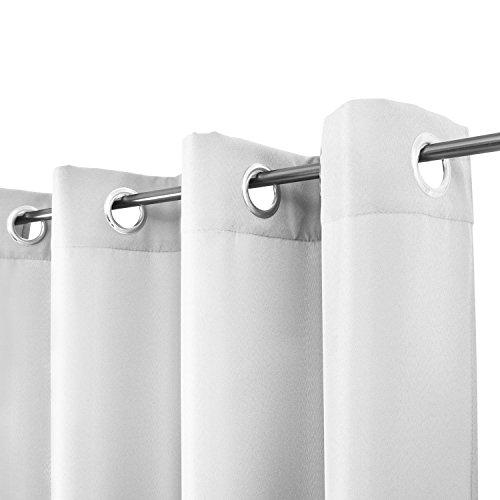 Beautissu Blickdichter Ösen-Vorhang Amelie – 140×245 cm Weiß Uni – Dekorative Gardine Ösenschal Fenster-Schal - 2