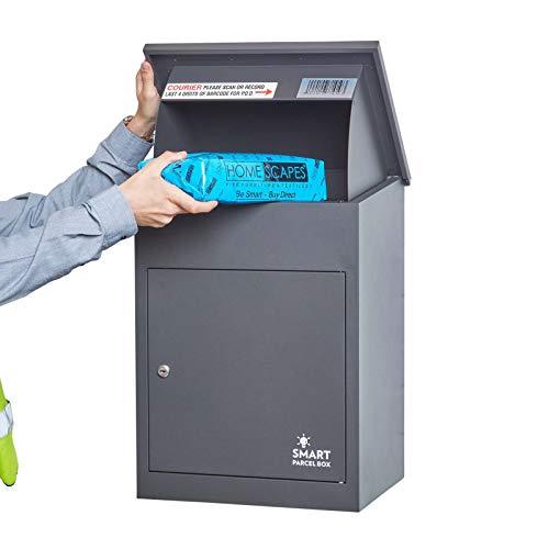 Homescapes Paketbriefkasten aus verzinktem Stahl mit Barcodescannung & Rückholsperre, Smart Parcel Box Medium, Grau, 44 x 35 x 58cm
