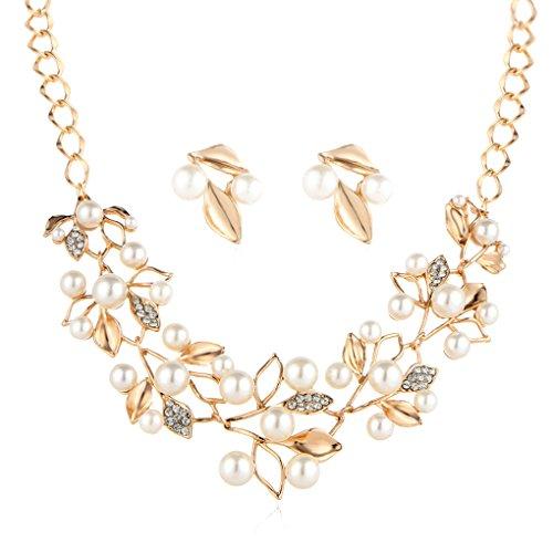 LUFA Retro del trifoglio del foglio della perla d'imitazione clavicola collana set con orecchini per (Perla Del Trifoglio)