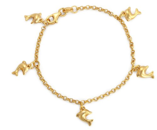 """Carissima Gold 9ct Yellow Gold Dolphin Charm Belcher Bracelet of 15cm/6"""""""