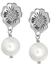 Tuscany Silver Damen-Ohrringe 925 Sterling Silver Rund Synthetische-Perle Zirkonia