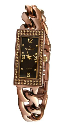 Peugeot Women's 7043BR Brown Swarovski Crystal Accented Bracelet Watch