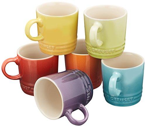 Le Creuset Stoneware Espresso Mugs, Set of 6, Multi-Colour