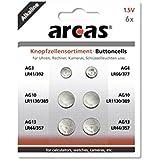 Battery Arcas Button Cells Set AG3-AG13 0% Mercury/Hg (6 pcs.)