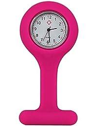 Reloj de bolsillo para enfermería de silicona y con broche para colgar - Rosa oscuro