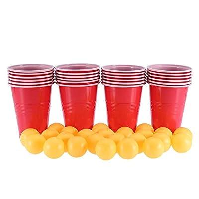 TOPINCN Bière Pong Ensemble Jouet PP Jeu Respectueux l'environnement Les Parties Pub Les Fêtes du Collège Vacances Noël Incluent 24 Tasses Rouges et des Balles Ping-Pong