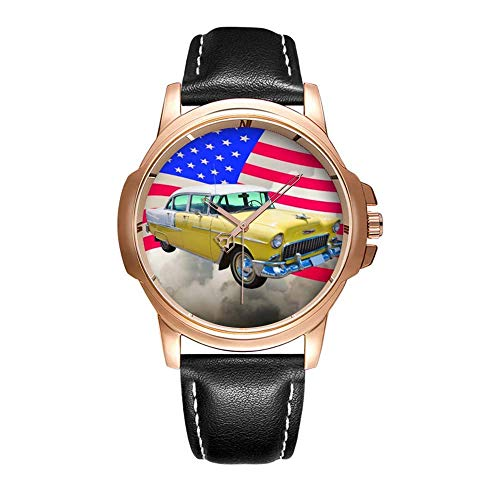 Personality Mode Wasserdichte Herren-Armbanduhr Analoges Quarzlederband Mit Gold-171.1955 Chevrolet Bel Air with American Flag Wristwatches