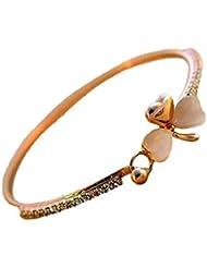 Hosaire Femmes Bracelet Elegent forme heureux fleur de brillant strass Bracelet de bijoux Cadeau d'amour -Or