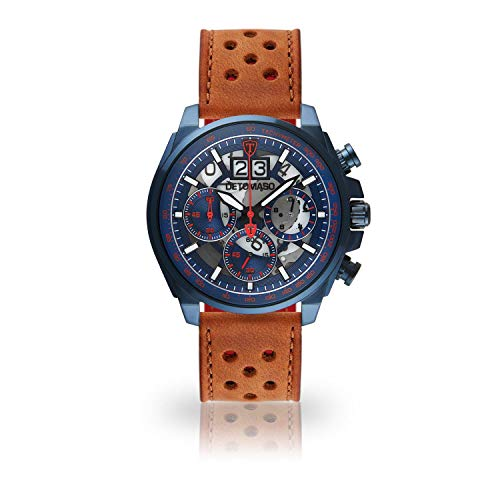DETOMASO LIVELLO Mens Wristwatch Chronograph Analogue Quartz Light Brown Racing Leather Strap Blue red dial DT2060-D-839