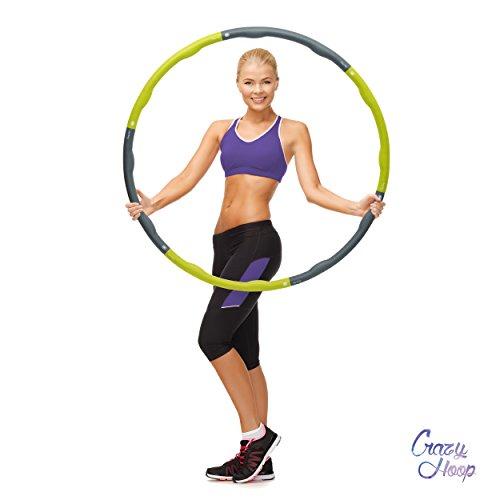 Crazy Hoop Medium Pro Farbe Grün-Grau Hula Hoop Reifen Fitness-Reifen, 1,5kg Reifen mit Schaumstoff, zum abnehmen