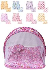 Baby Fly Newborn Baby Combo of Net Bed and Cotton Jhabla and Nappy, 0-8 Months (Multicolour)
