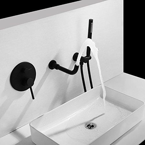 Qzny Black Paint Bad Tap in Wand Hot Cold Wasserfall Wasserhahn 360º Swivel Split Messing Becken Waschbecken Mixer Tap Toilette Garderobe Hotel Bar - Split Bad Bar