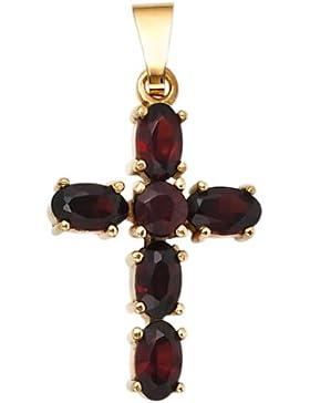 JOBO Anhänger Kreuz 375 Gold Gelbgold 6 Granate