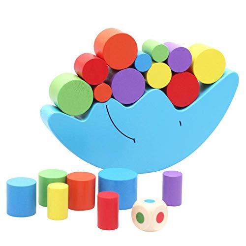 Gebuter Moon Gleichgewichtsspiel Holzstapelblöcke Balancierspiel Sortierspiel für Kinder