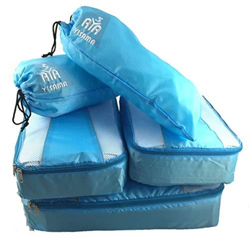 YISAMA Packing Cubes, Kofferorganizae Packtaschen Set, Ultraleicht, 5 Pcs Umfasst Schuhbeutel Ideal Für Mittelgroße Trolley Farbe Leicht Blau - Baby Eagle Zubehör