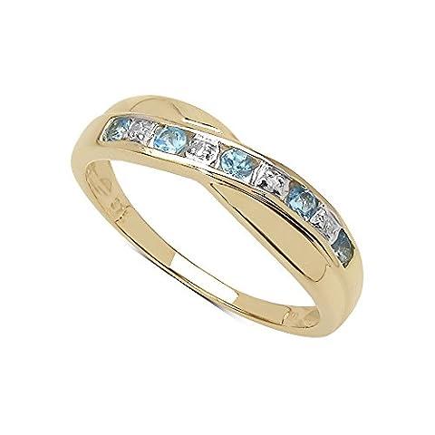 La Collection Bague Diamant : Bague Or 9ct de la Topaze bleue et set les Diamants authentique, Bague éternité pour le Cadeau, Anniversaire Taille de la bague 50