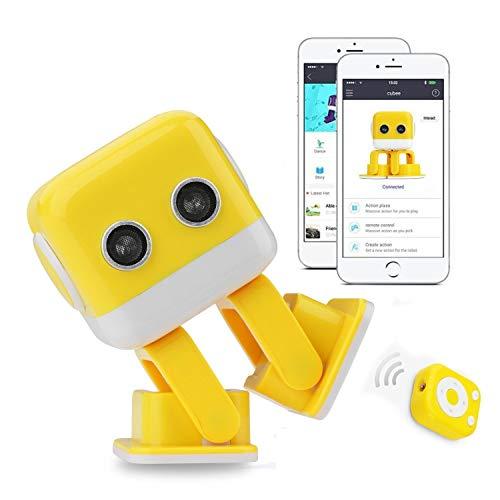 RcTecnic Mini Robot Interactivo para Niños Cubee Simpático y Teledirigido, Camina, Canta, Habla, Baila y Tiene Música, Control Remoto Desde App para Programar Robótica Educativa Fácil (Amarillo)