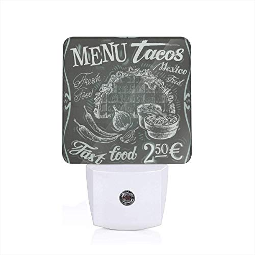 Vintage Style Mexican Fresh Food Logo With Chili Corn Burrito Menu Design Plug-in LED Night Light Lamp with Dusk to Dawn Sensor, Night Home Decor Bed Lamp