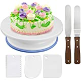 WisFox Rotating Cake Stand Cake Decorating Turntable with 2 Pieces Angle Palette Set, 3 Pieces Icing Smoother, for Baking Pastries, Icing, Patterns, 28 x 7 cm, White