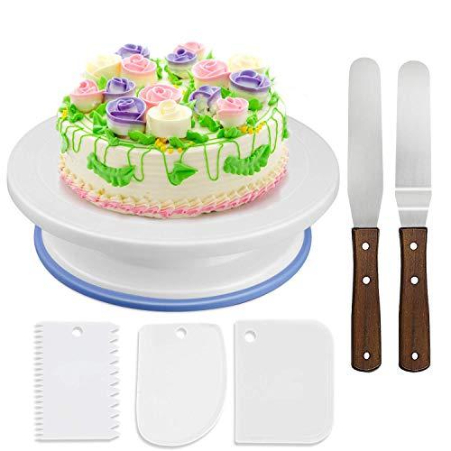 WisFox Tortenplatte drehbar Tortenständer Kuchen Drehteller Cake Decorating Turntable mit 2 Stück Winkelpalette Set, 3 Stück Icing Smoother, für Backen Gebäck, Zuckerguss, Mustern 28x7 cm Weiß -