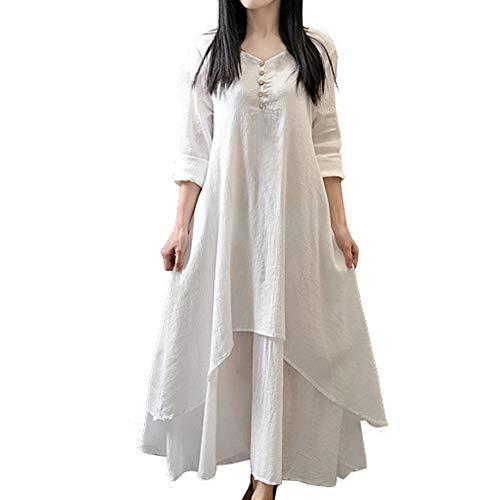 Vimbhzlvigour Damen-Kleid, Baumwollleinen, asymmetrisch, groß, mit Swing-Knöpfen, lose Lange Ärmel -
