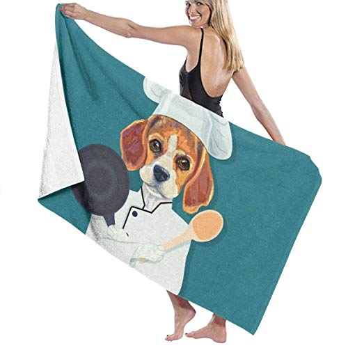 xcvgcxcvasda Serviette de bain, Funny Beagle Dog Chef Premium 100% Polyester Large Beach Towel, Suitable for Hotel, Swimming Pool, Gym, Beach, Natural, Soft, Quick Drying (Londres Hotel)