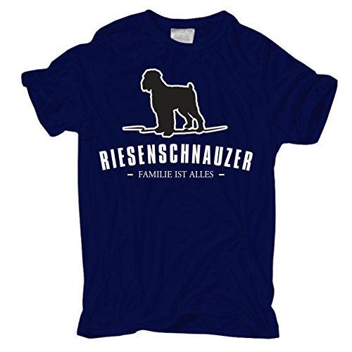 Männer und Herren T-Shirt Riesenschnauzer - Familie ist alles Größe S - 8XL Dunkelblau