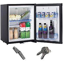 Smad Réfrigérateur Compact 12V 220V Mini Frigo à Absorption avec Serrure à Verrou 0dB sans Bruit Petit Frigo pour Voiture RV Camping 30L Noir