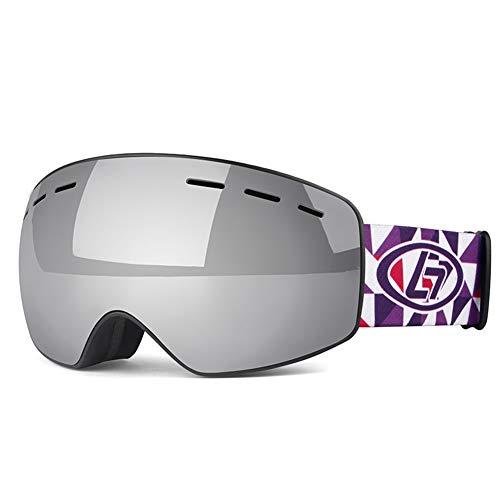 Occhiali da sci per bambini per uomo, tpu doppio specchio antiappannamento protezione uv può essere dotato di miopia antiriflesso resistenza agli urti pattinaggio / motoslitta per l'alpinismo ,gray