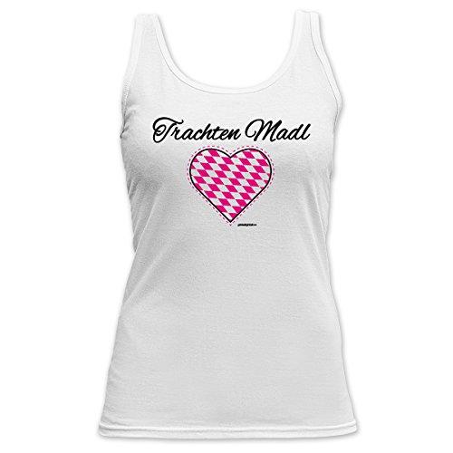 Damen Tank Top Shirt Trachten Madl 4 Girls Beach Tanktop Geschenk geil  bedruckt Goodman Design Weiß