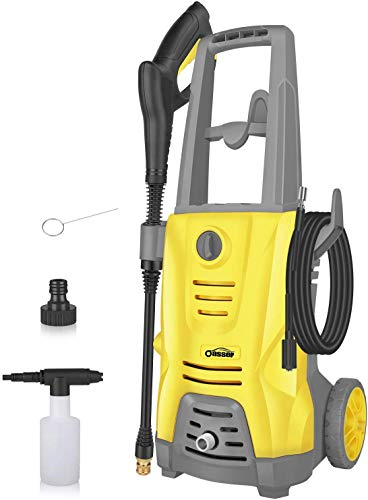 Oasser Hochdruckreiniger Elektrischer Hochdruckreiniger 1400W 125 Bar 380L / H mit Spritzpistole 5 Stück Düsen 5 Meter Hochdruckschlauch CW5