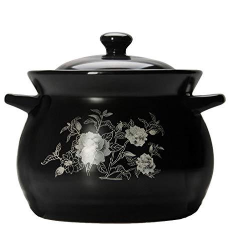 Pentola minestra ultifunzione alta capacitàdomestico con coperchio bocca grande resistenza alle alte temperature casseruola ceramica porridge vaso salute nero bellissimo,24cm