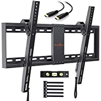 TV Wall Bracket, Tilt TV Mount for Most 37-70 inch LED, LCD, OLED, Plasma Flat&Curved TVs up to 60kg, Max VESA 600x400mm, Bubble Level, HDMI Cable and Cable Ties included