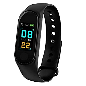 TECHPOOLSmart Fitness Band 3 Activity Tracker, Bluetooth 4.2, Fitband with OLED Heart Rate Monitor, Health Activity, Pedometer Smart Bracelet Wristband for All Android and iOS Smartphones